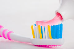 Tooth brush with tooth paste. On white background Royalty Free Stock Photography