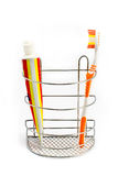 Tooth brush beside toothpaste Royalty Free Stock Photo