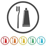 Tooth brush with toothpaste flat icon, Toothbrush icon, 6 Colors Included. Simple vector icons set royalty free illustration