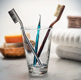 Tooth brushes. Tooth brushed in glass in bathroom setting on white background Stock Images