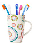 Tooth Brushes in ceramic cup Royalty Free Stock Images