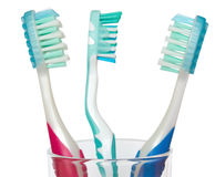 Tooth-brushes in glass Stock Photography