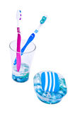 Tooth brushes and soap Royalty Free Stock Photography