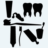Tooth brushes, tooth paste and human tooth Royalty Free Stock Photo