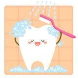 Tooth brushing itself Stock Photos