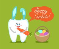 Tooth with bunny ears holds a carrot and stands near Easter basket with eggs. Cartoon tooth with bunny ears holds a carrot, stands near basket with eggs Royalty Free Stock Photography