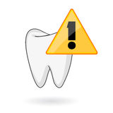 Tooth care alert symbol. Teeth health care symbol with comic cartoon tooth and alert symbol Royalty Free Stock Photos