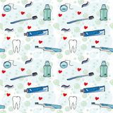 Tooth care with love seamless vector pattern Stock Photo
