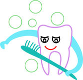 Tooth cartoon. Isolated line art tooth cartoon Royalty Free Stock Photo