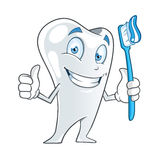 Tooth. Cartoon tooth holding a toothbrush Stock Image