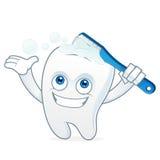 Tooth cartoon mascot brushing teeth Stock Photo