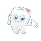Tooth cartoon mascot had toothache Royalty Free Stock Photo
