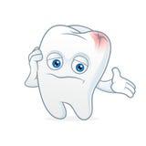 Tooth cartoon mascot had toothache Royalty Free Stock Photo