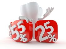 Tooth character behind percentage signs. On white background Royalty Free Stock Photo