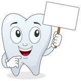 Tooth Character Holding Blank Banner Stock Photography
