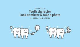 Tooth character Look at mirror & take a photo with mobile phone. Tooth character Look at mirror & take a photo with mobile phone illustration vector on blue Royalty Free Stock Images