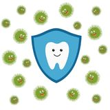Tooth character in protective shield. Germs characters attack. Stock Photography