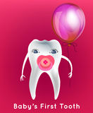 Tooth character vector. Tooth with a dummy and balloon in childish style. First children teeth concept. Dental image useful for poster, placard, leaflet and Royalty Free Stock Images