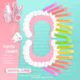 Tooth chart with dental care Stock Image