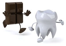 Tooth and chocolate Royalty Free Stock Photos