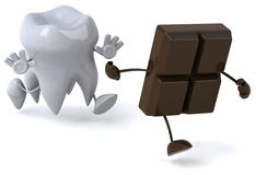 Tooth and chocolate Stock Photos