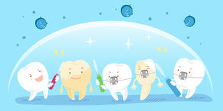 Tooth with clean concept. Cute cartoon tooth with clean concept on blue background Royalty Free Stock Photo