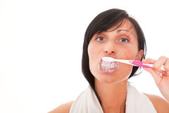 Tooth cleaning woman Royalty Free Stock Images