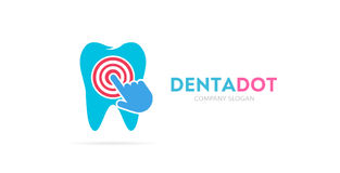 Tooth and click logo combination. Dental clinic and cursor symbol or icon. Unique dent and medical logotype design. Logo or icon design element for companies Stock Photos