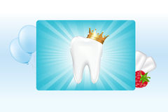 Tooth In Crown And Chewing Gum vector illustration