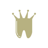 Tooth with crown logo. Minimal illustration of a tooth and a crown that can be used for logo or as isolated graphic element Royalty Free Stock Photography