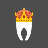 Tooth Crown. White pure Royal. Vector illustration logo for dent Stock Image
