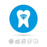 Tooth crystal sign icon. Dental prestige symbol. Royalty Free Stock Images
