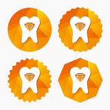Tooth crystal sign icon. Dental prestige symbol. Royalty Free Stock Image