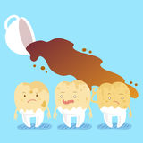 Tooth decay with coffee Stock Image