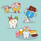 Tooth decay with health problem. Cute cartoon tooth decay with health problem Stock Images