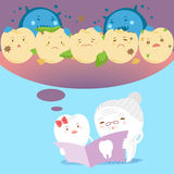 Tooth with decay problem. Cute cartoon tooth with decay problem on blue background Stock Image