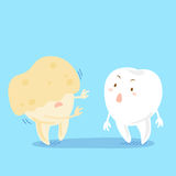 Tooth with decay problem. Cute cartoon tooth with decay problem on the blue background Royalty Free Stock Image