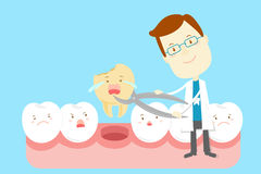Tooth decay problem. Cute cartoon dentist with tooth decay problem Stock Photo