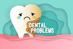 Tooth with decay problems. On he green background Royalty Free Stock Photography