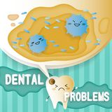 Tooth with decay problems. On he green background Stock Photo