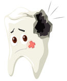 Tooth decay with sad face. Illustration Royalty Free Stock Photography