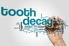 Tooth decay word cloud. Concept on grey background Royalty Free Stock Image