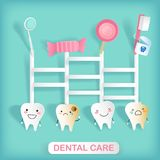 Tooth with dental care. On the green background Stock Images