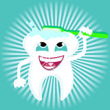 Tooth Dental care Health. Tooth vector cleaning itself with toothbrush shiny  dental care Stock Photo