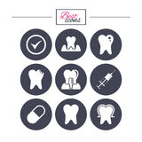 Tooth, dental care icons. Stomatology signs. Stock Photography