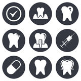 Tooth, dental care icons. Stomatology signs Stock Photos