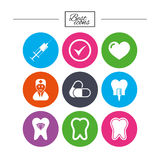 Tooth, dental care icons. Stomatology signs. Royalty Free Stock Photo