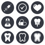 Tooth, dental care icons. Stomatology signs Stock Image