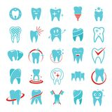 Tooth dental care logo icons set, flat style. Tooth dental care logo icons set. Flat illustration of 25 tooth dental care logo vector icons for web Royalty Free Stock Images