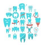 Tooth dental care logo icons set, flat style. Tooth dental care logo icons set. Flat illustration of 25 tooth dental care logo vector icons for web Stock Images